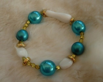 Bracelet Efimia, turquoise pearls, Greek  gold plated rondells
