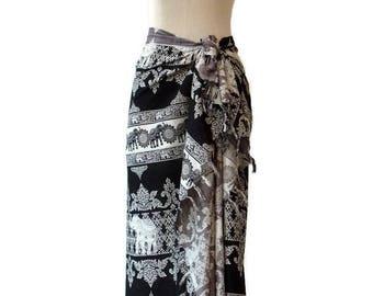 Sarong Hippie Beachwear Cover up Wrap Pareo Swimsuit Swim Wear Cover Up Fringes Summer Spring Large Scarf Shawl Women Elephant Black
