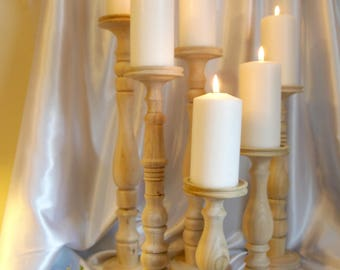 Wedding Candle Holders, Set of 6 Unfinished Poplar 20, 18, 16, 15, 11, and 9-inch
