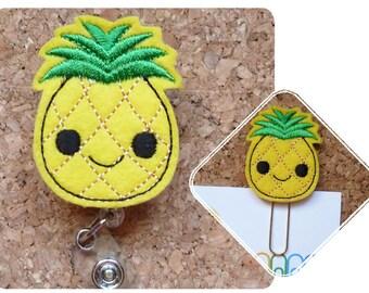 Pineapple Badge Reel, Planner Clips,  Felt Badge Reel, Retractable Lanyard, Magnet, Pin, Bookmark, Gifts for Nurses, Gifts for Teachers, 365