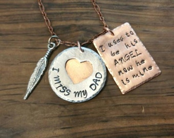 I Used To Be His Angel, Remembrance Jewelry, Remembrance Gift, Memorial Jewelry,  Memorial Gift, Memorial Dad,  Miss My Dad, Hand Stamped