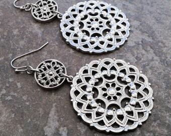 Wanderlust Filigree Mandala Statement Earrings in Silver