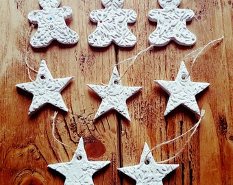 8 handmade clay christmas decorations