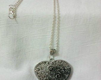heart and silver chain necklace