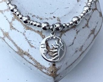 Sterling Silver SUN & MOON CELESTIAL Charm Bracelet