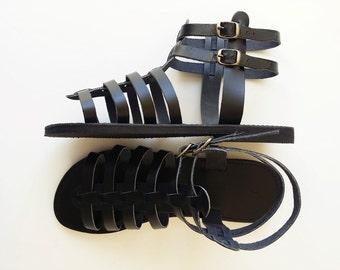 Cuir noir Gladiator Sandals - hommes cuir sandales grecques - sandales à la main