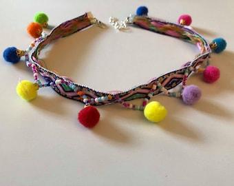 Pom Pom Choker Necklace