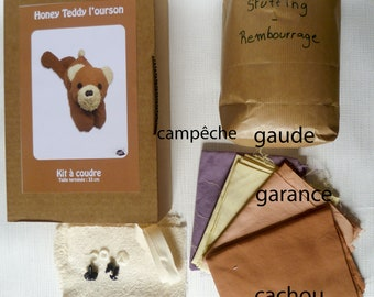 Kit sewing - bear - dyed fabrics by hand with plants - Poplin