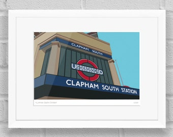 Clapham South Station, London - Limited Edition Giclée Art Print / Poster