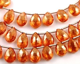 Natural orange topaz pear gemstone drop, 8x11 mm, 1 Full Strand, (TPZOR/PR/8x11)