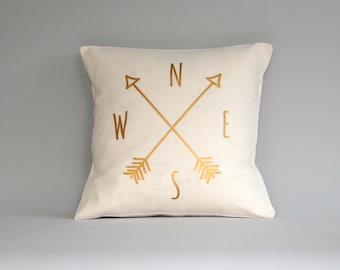 Compass Pillow cover, gold pillow, Compass cushion, throw pillow, metallic gold pillows, 16x16, 18x18, 20x20, 24x 24, 26x26, accent pillow