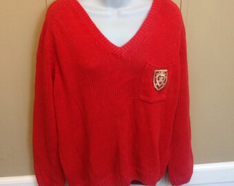 Vintage 80s Oversized Cropped V Neck Sweater Ladies Large