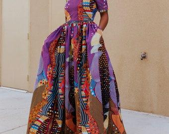 Ankara Dress African Clothing Print Fashion Womens Fabric Short