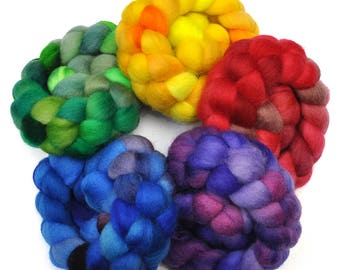 Hand Dyed BFL Rainbow Roving  5-Pack Wool spinning fiber - 10 ounces