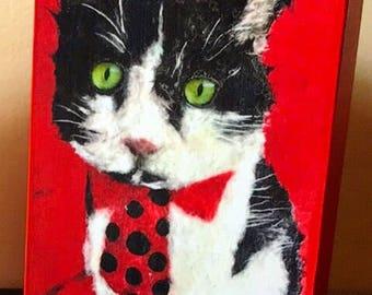 "Pop Art Cat Collectible ""Tux Zito"" Giclee Mini Block Print 3x5 Rectangular Torn Paper Art by Robin Panzer Red Valentine"