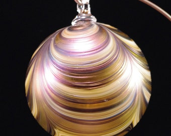 Blown Glass Ornament | Ribbon Pattern in Splash of Gold