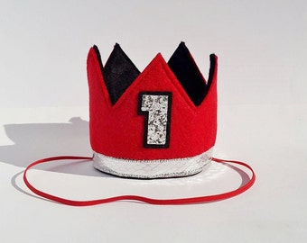 Baby First 1st Birthday Felt Crown in Black Red and Silver for Cake Smash Photo Prop Pictures