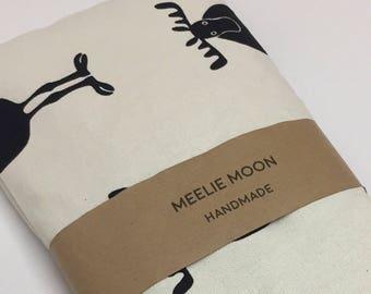 Wheat Bag - Microwavable Lavender & Wheat Bag, Cream and Black Moose fabric, Heat bag, heat pack, Moose Wheat Pack - reuseable - Meeliemoon.