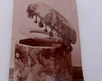 Antique 1860s CDV Photo Photograph Victorian Upholstered Commode Toilet 23454