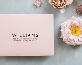 Minimal Return Address Stamp, Calligraphy Address Stamp, Personalized Address Stamp, Wedding Stamp, Custom Address Stamp, Wedding Gift