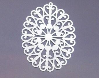 2 prints PENDANTS Oval Filigree stainless steel
