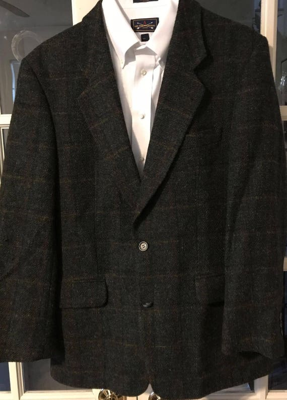 Vintage Original HARRIS TWEED Palm Beach 100% Pure Scottish Wool Men's Sports Jacket / Blazer Brown/Black/Tan Tailored in the USA Item# 212 CVDj5QOw