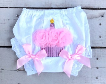 Birthday Bloomer, Baby Birthday Bloomer, Birthday Diaper Cover, Baby Birthday Bloomer, Cupcake Bloomer, Cupcake Birthday Bloomer