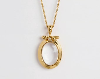Oval Rock Crystal Pendant, Clear Stone Pendant, 18k Gold Pendant Necklace,  Transparent Gemstone Stone Pendant for Women