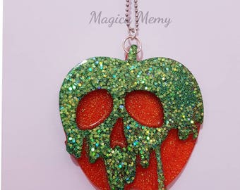 Hand-made resin poisoned apple necklace/handmade poison apple resin necklace or keychain