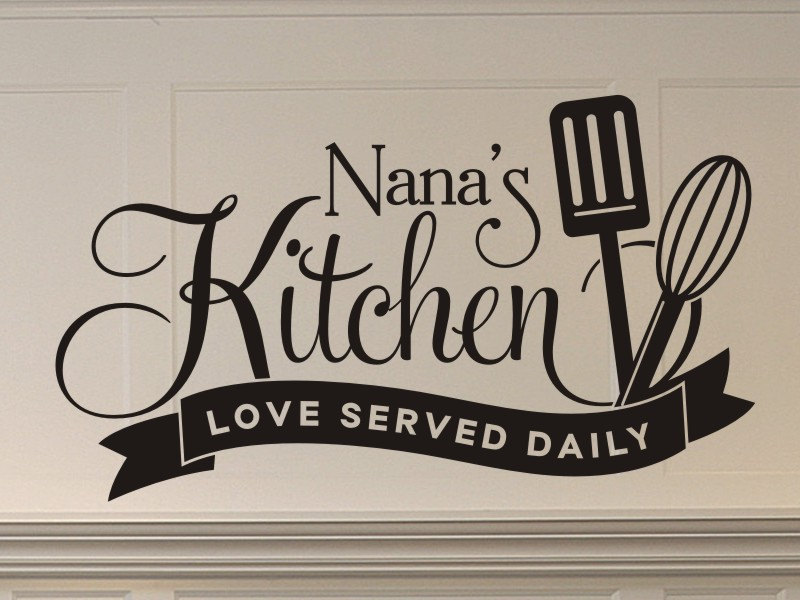 Nanas Kitchen Love Served Daily wall decal with spatula and
