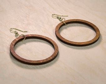 Wooden Laser Cut Hoop Earrings