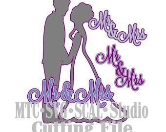 SVG Wedding Cut Files Bride Groom Mr & Mrs  MTC Silhouette SCAL Cricut