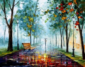 Modern Wall Art Canvas Blue Oil Painting By Leonid Afremov - Rainy Afternoon