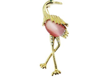 Pink Bird Brooch, Pink Jelly Belly Bird Brooch, Rhinestone Bird Brooch, Gold and Rhinestone Brooch, Gold Bird Brooch, Gold Bird Pin