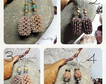 Earrings seeds filaos gems and pearls. Handmade crochet