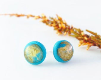 Minimalist Blue Stud Earings With Gold Acrylic Paint From Polymer Clay, Small Post Earrings, Stud Earrings, Mens Earrings
