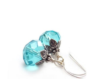 Aqua Blue Earrings - Wire Wrapped Petite Dangles - Aquamarine, Tuquoise - Silver Earrings - Bridal Jewelry