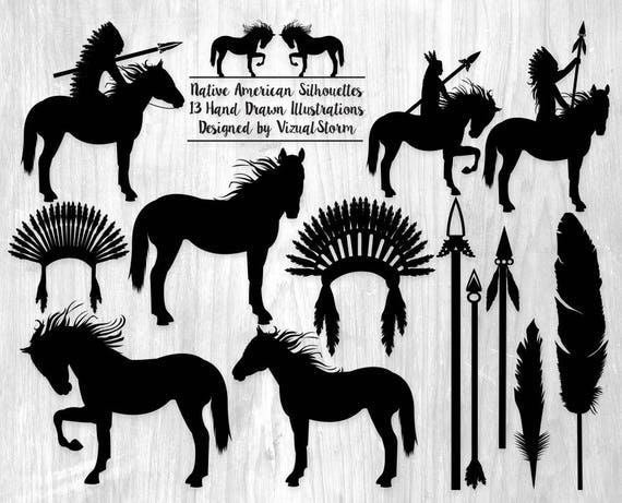 Tribal Indian Silhouettes Clipart Native American Graphics Indian ...