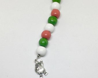 Santa Christmas Red, White & Green Scissor Fob/Charm