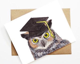 Graduation Card - Owl, Grad Card, College Graduation, High School Grad, Congrats Grad, Congrats Card, Cute Animal Card, Owl Card