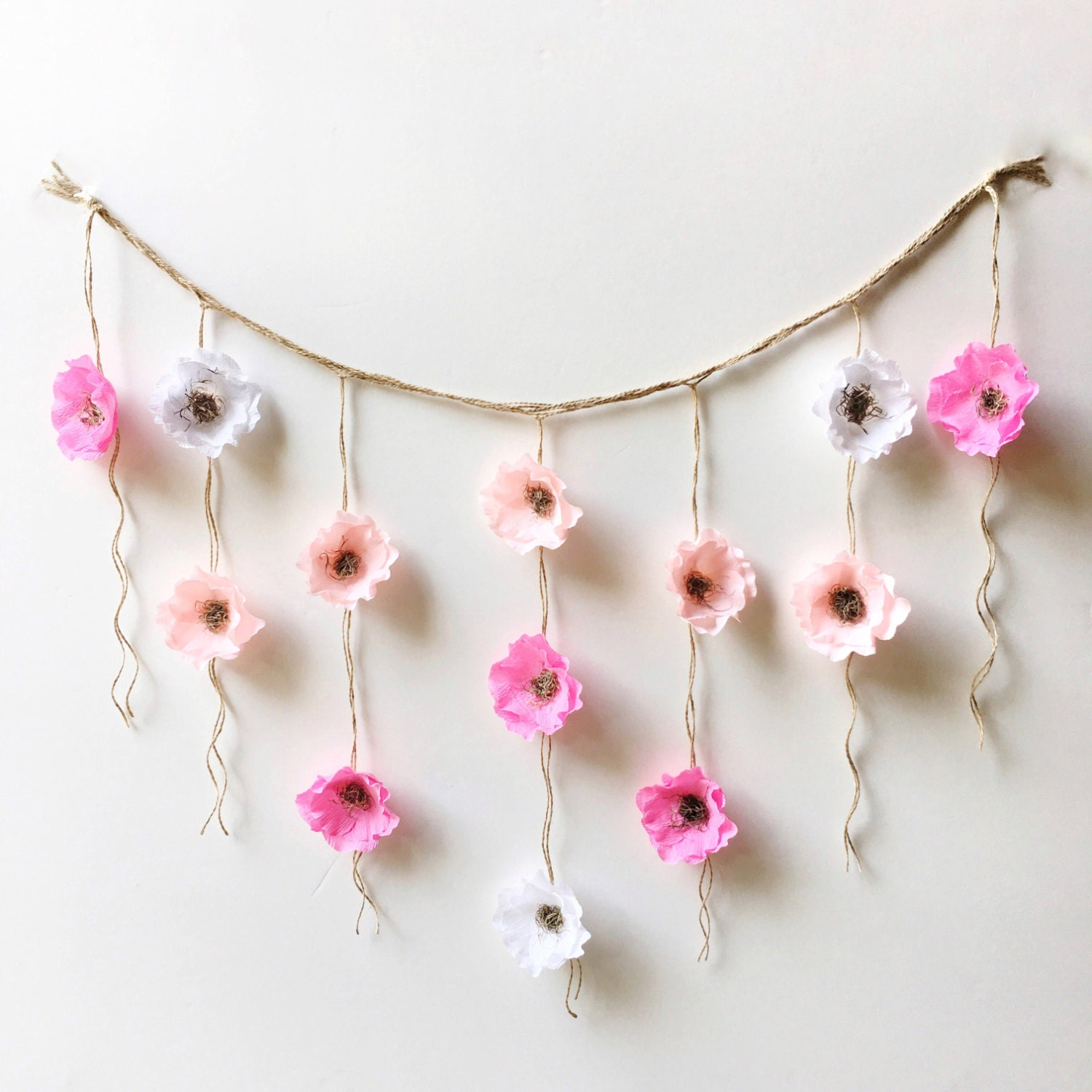 Boho paper flower wall hanging nursery wall decor dorm wall for How to make a flower wall hanging