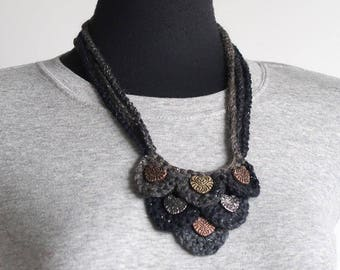 Dark Gray Charcoal Color Statement Necklace Fiber Crochet Bib Style Necklace with Metal Hearts Pendants