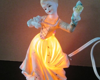 Vintage Fine Bisque/Porcelain Ardalt Young Girl Holding Flowers Lamp/ Nightlight