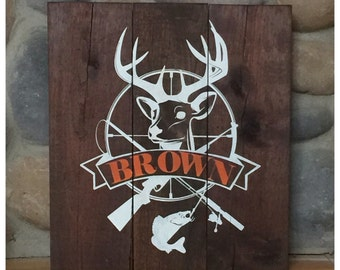 Hunting and Fishing Personalized sign, wooden personalized gift, personalized hunting sign, Personalized Gift for Him