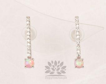 E321-PI-S / / plaqué argent 3mm Rose opale avec ligne argent perceuse clou, 1 paire