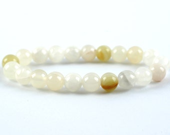 Jadeite Bracelet, Jadeite Bracelet, White Jadeite 8 mm Bead, Minerals Jadeite Bracelet, Yellow Jadeite Crystals, White Jadeite Gemstones
