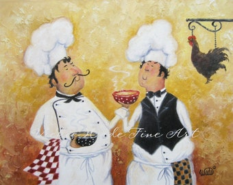 Fat Chefs Art Print, chef paintings, art, kitchen art wall decor, waiters, cooks, Chicken Soup Chefs chicken soup art, Vickie Wade Art
