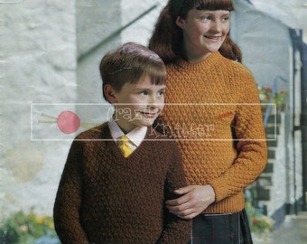 Childrens Sweaters 6-10 years DK Sirdar 756 Vintage Knitting Pattern PDF instant download