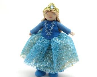 Little princess doll, miniature doll, blue princess, playhouse doll, freestanding doll, bendy princess, little girl doll, fairy tale doll