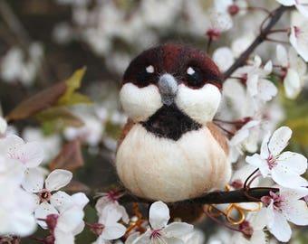 Needle Felted Sparrow Bird Decoration Felt Bird Ornament